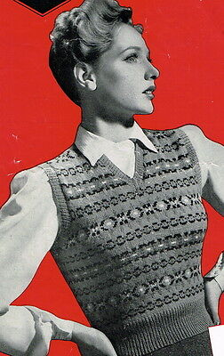 Vintage 1940s fair isle design ladies pullover jumper pattern-knit instructions