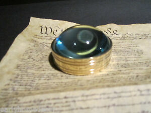 Vintage Antique Style Small Round Brass Heavy Magnifying Glass Desktop Lens