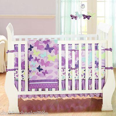 Butterly Purple 4pcs baby girl Crib Bedding Set Quilt Bumper Sheet Dust Ruffle
