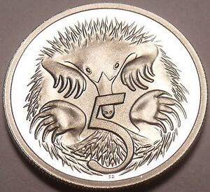 Cameo-Proof-Australia-1981-5-Cents-Short-Beaked-Spiney-Ant-Eater-Free-Shipping