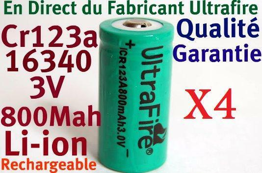 4 Piles Accus Rechargeables CR123A 16340 3V 800Mah Ultrafire Li-ion Battery Accu