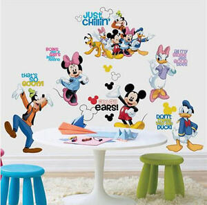 mickey mouse wall stickers 30 decals clubhouse disney. Black Bedroom Furniture Sets. Home Design Ideas
