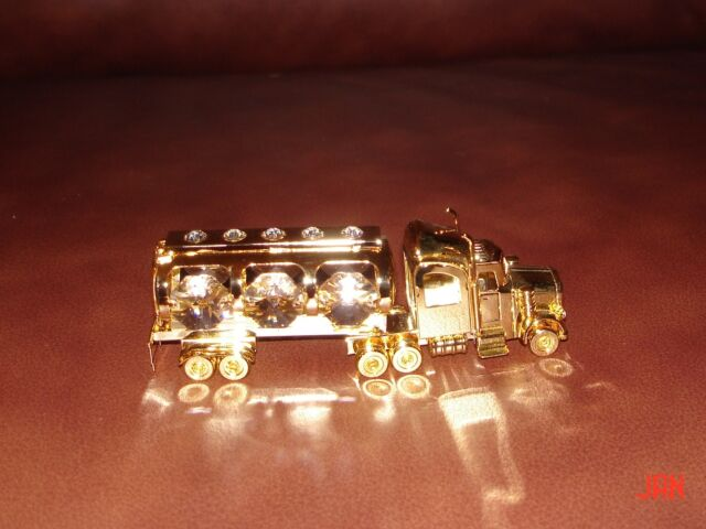 OIL TANKER~24K GOLD PLATED FIGURINE WITH BEST~*~AUSTRIAN CRYSTALS~*~