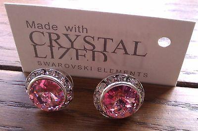 Genuine Swarovski Elements 13mm Light Rose Crystal  Stud Earrings + Gift Bag!