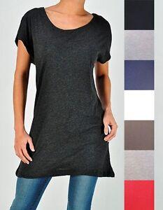 LONG-Oversized-Slouch-Kimono-Short-Sleeve-COMFY-Tunic-Top-Blouse-T-shirt-Women-039-s