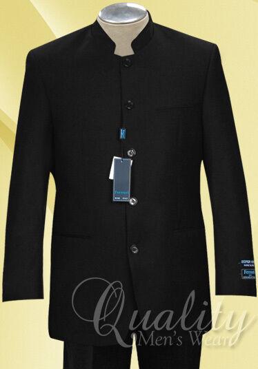 Black Nehru Collar 5 Button Suits All Sizes Ferrecci Uomo Super 150's $260