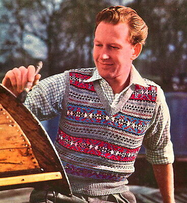 Vintage Visage repro knitting pattern -1950s fair isle mens pullover to knit