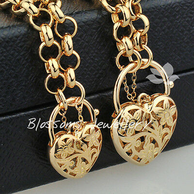 9K 9CT Yellow GOLD GF Womens HEART Padlock LONG Chain NECKLACE BRACELET SET 736G