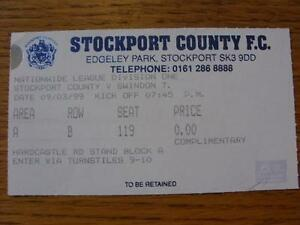 09031999 Ticket Stockport County v Swindon Town Item In very good condition - Birmingham, United Kingdom - 09031999 Ticket Stockport County v Swindon Town Item In very good condition - Birmingham, United Kingdom