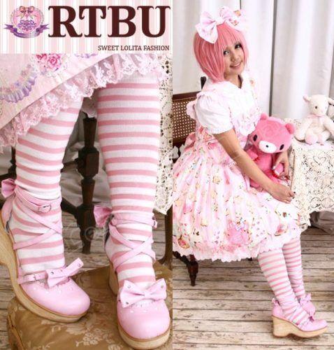 Sweet Lolita EGL OVER KNEE STRIPE Cotton STOCKING Sock