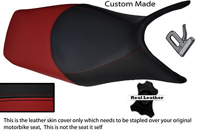 BLACK AND DARK RED CUSTOM 06-12 FITS HONDA DEAUVILLE NT 700 LEATHER SEAT COVER