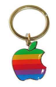 Vintage-1980-039-s-Apple-Computer-Logo-Keychain-Old-Rainbow-Logo-NEW-UNUSED