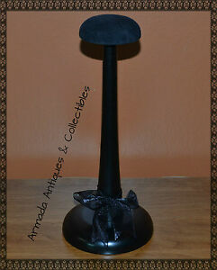 Stylish-Wood-Hat-Helmet-Cap-Headgear-Stand-Display-with-Velour-Top-11-034-High