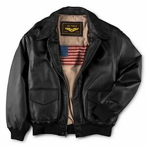 Mens-Air-Force-A-2-Flight-Leather-Bomber-Jacket-Color-BLACK