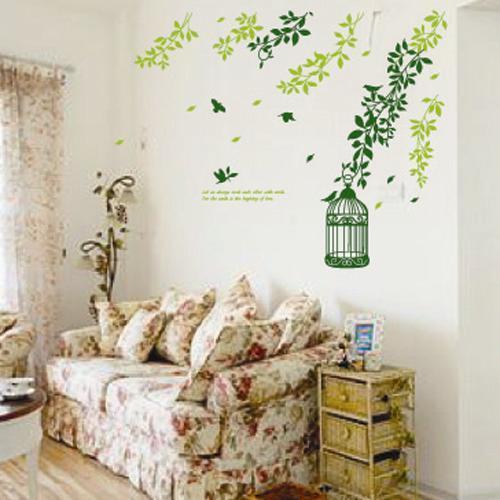 New!! Window Art Sticker Wall Paper Home Decal Sticker Green leaves Birdcage