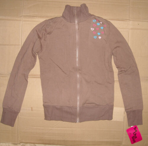 NWT Motionwear Long Sleeve Dance Jacket Brown W//Blue and Pink hearts Ladies SOFT