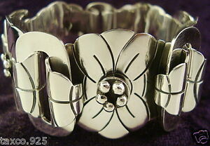 TAXCO-MEXICAN-950-SILVER-FLORAL-FLOWER-BRACELET-MEXICO