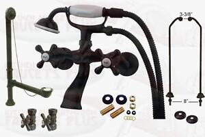 Oil Rubbed Bronze Clawfoot Tub Faucet Package Kit With Drain Supplies