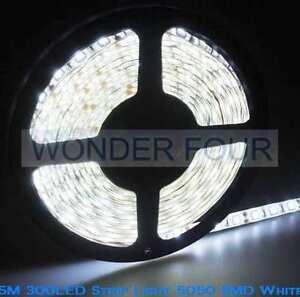 5M-300-LED-Strip-Flex-Light-5050-SMD-White-Waterproof-12V