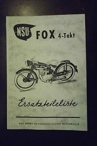 f r nsu fox 4 takt ersatzteilliste motorrad ebay. Black Bedroom Furniture Sets. Home Design Ideas