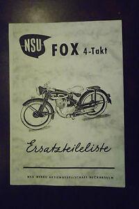 f r nsu fox 4 takt ersatzteilliste motorrad ebay. Black Bedroom Furniture Sets. Home Design Ideas