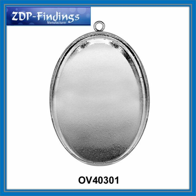 2 or 6pcs Oval 40x30mm Sterling Silver 925 Bezel Cup Setting Pendant or Earrings