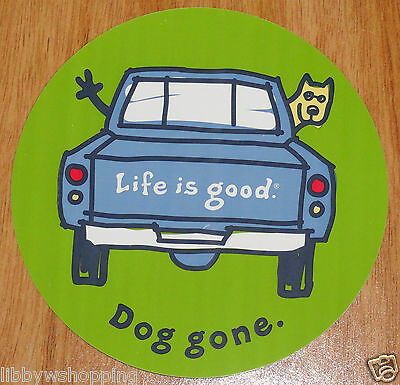 """Life is Good Sticker 4"""" Round Dog Gone Blue Truck with Rocket Looking out Window"""