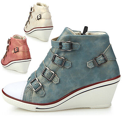 New Womens Shoes Fashion Ankle Boots Buckle Lace Up High Heels Multi Colored