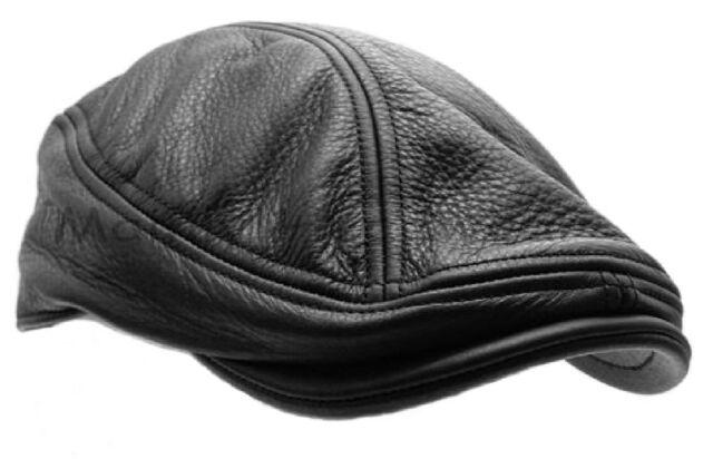 STETSON Leather IVY cap Gatsby Mens Newsboy hat Golf black flat driving s m l xl