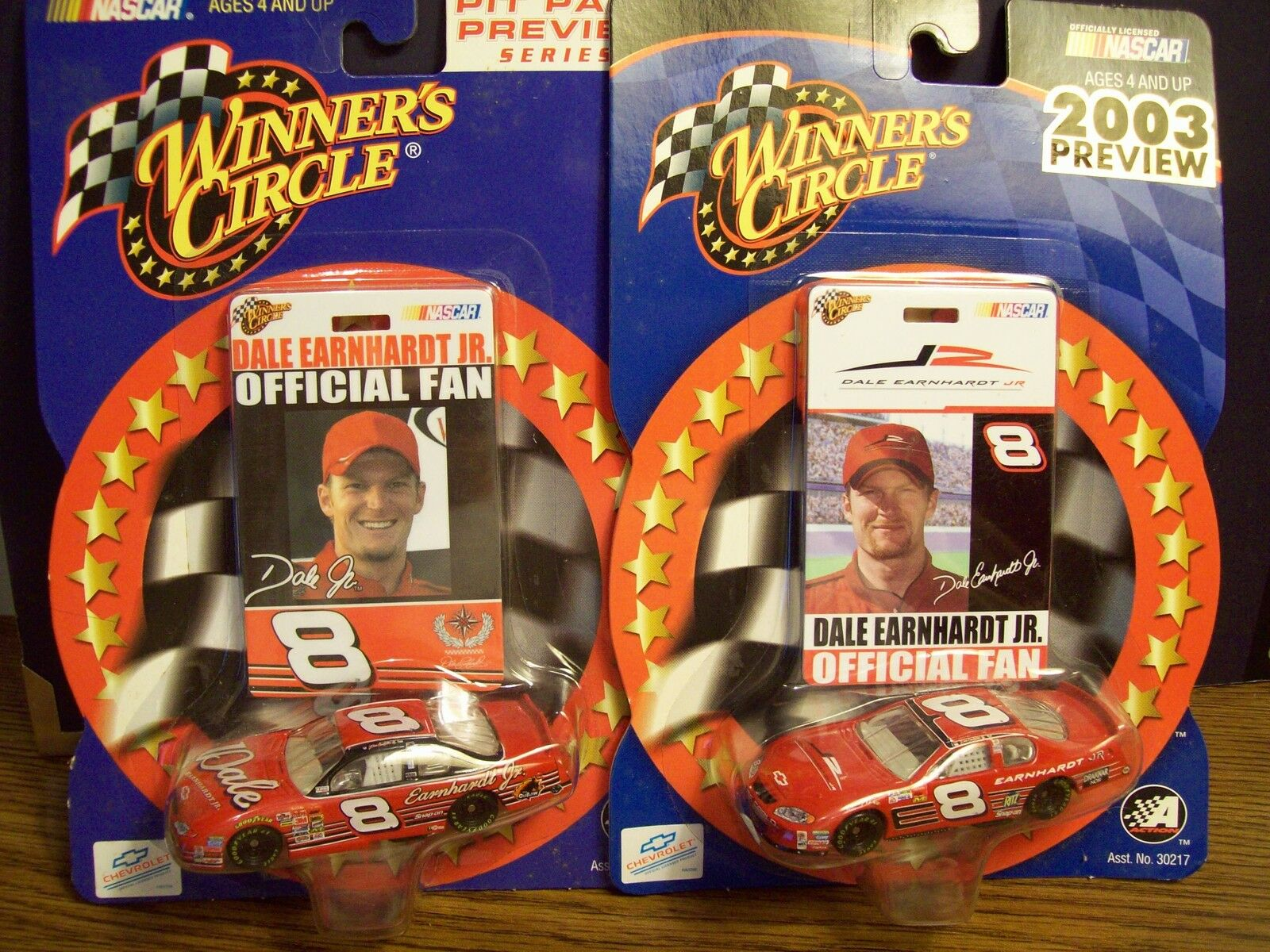 DALE EARNHARDT JR. SET OF 2 WINNERS CIRCLE 1 64 SCALE CARS W  PICTRE PIT PASS