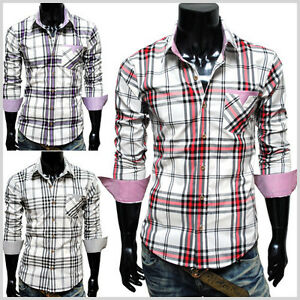 CHS6-THELEES-Mens-Casual-Stylish-Long-Sleeve-Stripe-Patch-Checker-Shirts