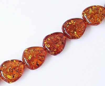 6 Amber 27x23x9mm Nugget Beads