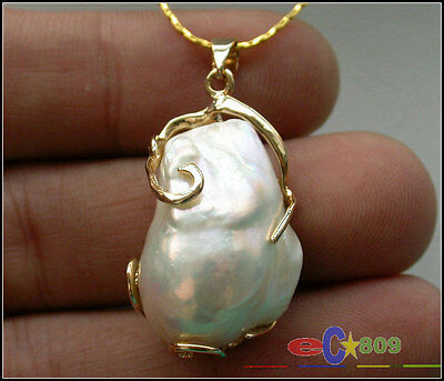 Huge 17mmx24mm baroque white keshi reborn pearl chain pendant