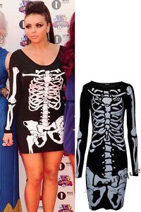 Ladies-Skeleton-Bone-Print-Long-Top-Women-Skeleton-Bodycon-Mini-Party-Dress