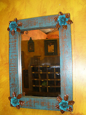 Turquoise Bloom Mirror-Wood-Mexican-16x20-Rustic-Flowers-Primitive-Beautiful