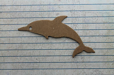 4 Bare chipboard Dolphin diecuts 3 7/8 inches wide