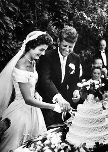 Jacqueline Kennedy Onassis JFK John WEDDING DRESS PHOTO 8x10 cutting ...