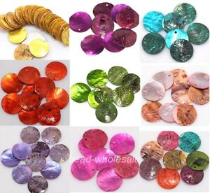 2015-Wholesale-50pcs-Mussel-Shell-Flat-Round-Coin-Charm-Beads-18mm-U-Pick-Color