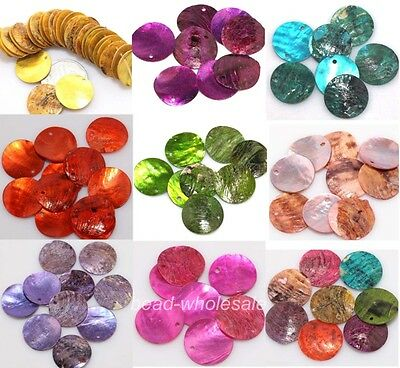 Free Shipping 50pcs Mussel Shell Flat Round Coin Charm Beads For Jewelry Costume