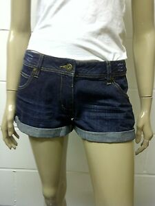 Womens-F-F-Denim-Turn-Up-Shorts-Indigo-Size-8-Ladies