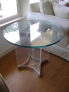 Mid century modern albrizzi side end table chrome lucite glass italy