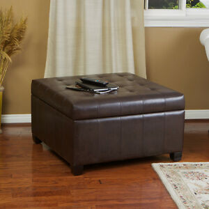 Espresso brown leather storage ottoman coffee table w tufted top ebay Brown leather ottoman coffee table