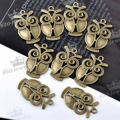 10PC Bronze Copper Alloy Owl Beads Pendant Bail Charms Findings Jewellery Design