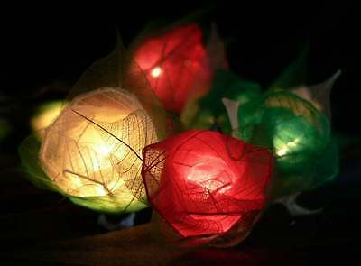 35 Red Green & White Rose string fairy lights wedding decorations Italian Theme