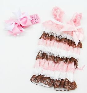 Baby-Girls-Pink-Brown-White-Lace-Petti-Rompers-Straps-Bow-Headband-3pc-6-24M