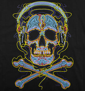 image is loading skulls cross rock t shirt black neon color