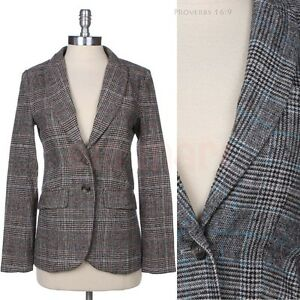 Two-Buttoned-Front-Plaid-Blazer-with-Elbow-Patch-Fake-Flap-Pocket-Lined-One-Slit