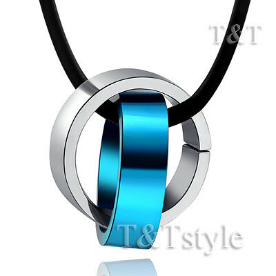 T&T Stainless Steel Two Lucky Ring Pendant Necklace Blue (NP174F)