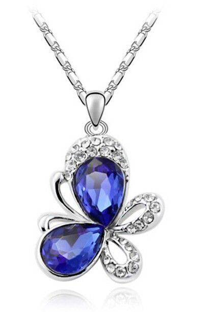 Dark Royal Blue Crystal Stone & Silver Chain Butterfly Pendant Necklace N101