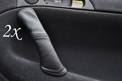 BLACK STITCH FITS ALFA ROMEO 147 LEATHER 2X REAR DOOR HANDLE COVERS
